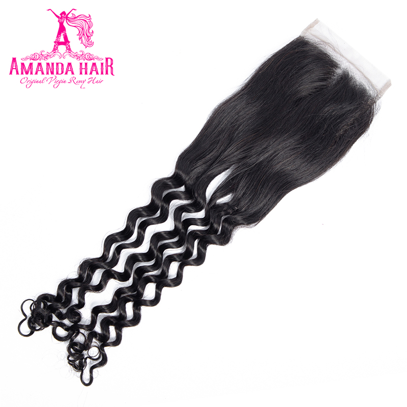 Amanda Double Drawn  with Closure 4x4 Funmi Deep Curly  Virgin Hair Bundles With Closure  3