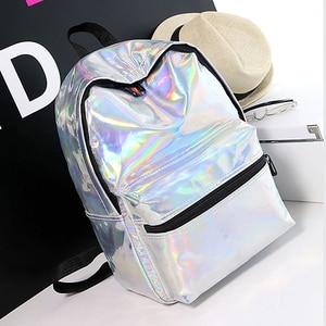Image 2 - Laser Backpack Women Fashion Travel Bags 2019 Backpack New Women Backpack PU leather Holographic Backpack Girls Shoulder Bag