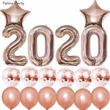 купить Twins Party Rose Gold 2020  Happy New Year Balloon Kit Confetti balloon New Year Eve Party Decor Christmas по цене 453.31 рублей