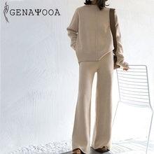 Genayooa kış eşofman 2 parça pantolon takım elbise kadınlar örme uzun kollu iki parçalı Set üst ve pantolon kadın takım elbise dış giyim kore
