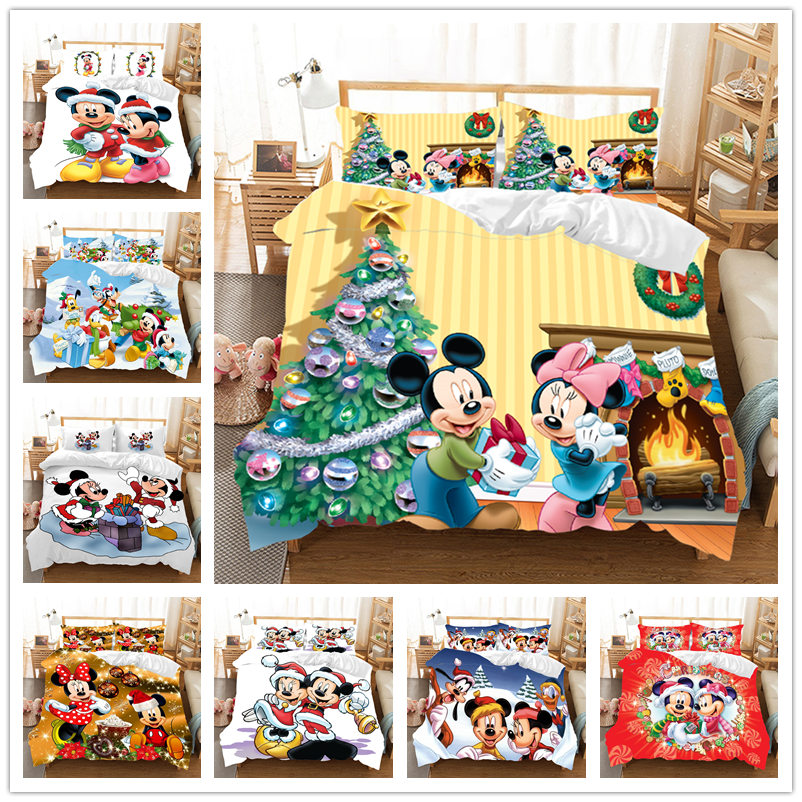 New Minnie Mickey Christmas Bedding Set Twin Full Queen King Duvet Cover  Bed Set Christmas Gift Nightmare Before Christmas