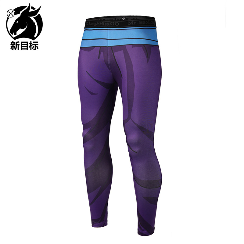 AliExpress 2019 Spring New Style MEN'S Wear Tight-Fit Yoga Pants Cartoon Muscle 3D Printed Sports Elasticity Fitness Pants