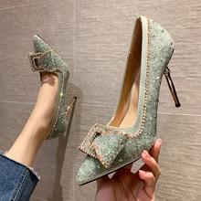 CRYSTAL Shoes Diamond Edge High-heeled Shoes Ladies Silver Thin Heels 9.5cm Fashion Woman Shoe Pointed Toe Luxury Pumps Women