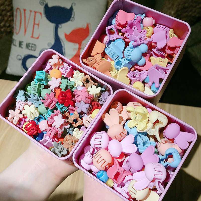 10-100 pçs/caixa Crianças Dos Desenhos Animados Acessórios Para o Cabelo Garra Do Cabelo Colorido Flor Mini Grampos de cabelo Meninas de Coelho Grampos de Cabelo Coroa Cocar
