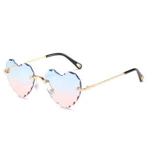 Image 3 - Женские солнцезащитные очки без оправы в форме сердца, модные брендовые дизайнерские очки в металлической оправе, градиент цвета конфеты, трендовые очки