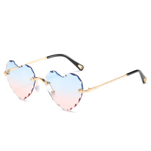 Image 3 - Fashion Heart Shape Sunglasses Rimless Flower Glasses Women Fashion Brand Design Metal Frame Candy Color Gradient Trend Glasses