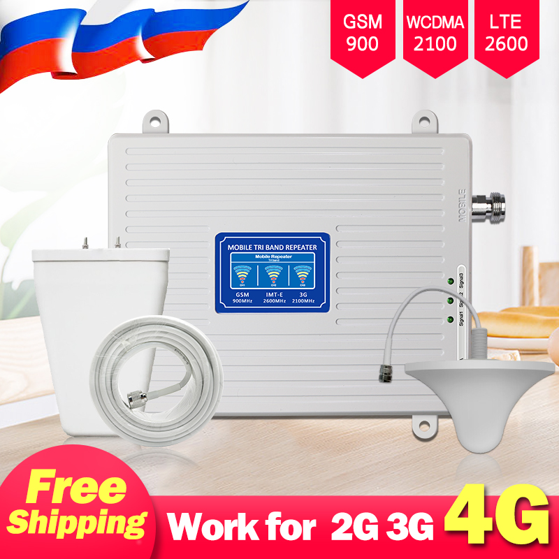 Tri-Band Mobile Signal Booster 2G GSM 900MHz 3G UMTS WCDMA 2100(B1) 4G LTE 2600(B7)  Cell Phone Signal Repeater Amplifier Set