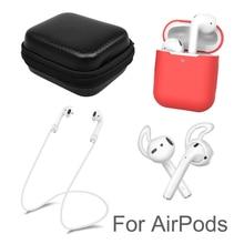 Caso de silicone macio capa protetora kit para apple airpods bluetooth fone de ouvido gancho caixa de armazenamento corda anti perdida para vagens de ar 2