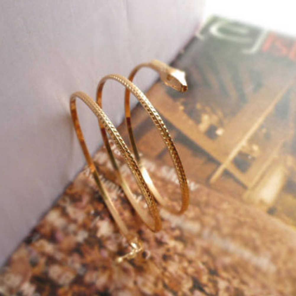 Chegada nova Moda Punk Coiled Serpente Espiral Braço Cuff Armlet Armband Pulseira Homens Jóias Para As Mulheres Do Partido Barcelets
