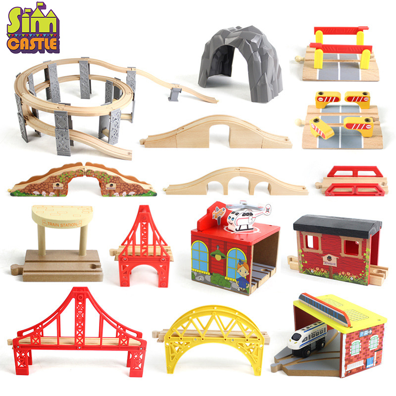 Wooden Track Railway Bridge Train Accessories Educational Toy Tunnel Cross Bridge Compatible Wood Block Track Toys For Children