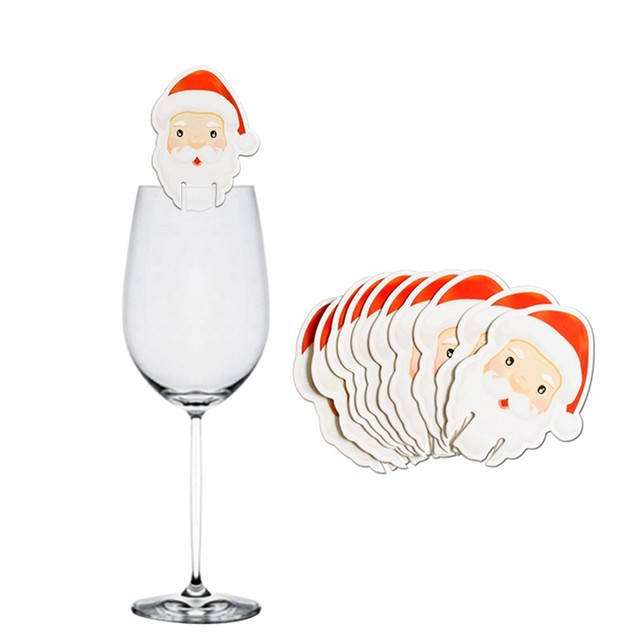 10pcs Santa Claus Snowman Tree Wine Glass Cards 2019 Merry Christmas Decoration For Home Table Ornaments Xmas Gift 2020 New Year 19