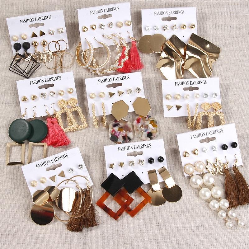 Women's Earrings Set For Women Bohemian Fashion Jewelry 2020 Geometric Crystal Acrylic Heart Pearl Tassel Stud Earrings Gift