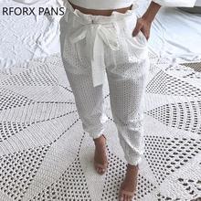 Papierowe talii Broderie koronki spodnie na co dzień tanie tanio RFORX PANS Kostki długości spodnie Poliester RX276 Stałe Harem spodnie Zipper fly Plisowana Niskie Dzianiny REGULAR