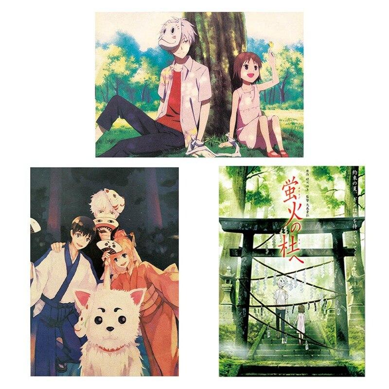 Картина из холста домашнее украшение аниме Hotarubi No Mori E плакат печать стены искусства деревянный прокрутки висит картина прикроватный фон
