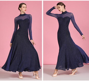 ballroom dance dresses for ballroom dancing viennese waltz dress rumba back perspective splicing long sleeve dress for dancing 4