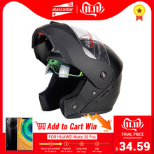 Casco Moto Helmets Modular Flip-Up Dual-Lens Casque Crash Full-Face New
