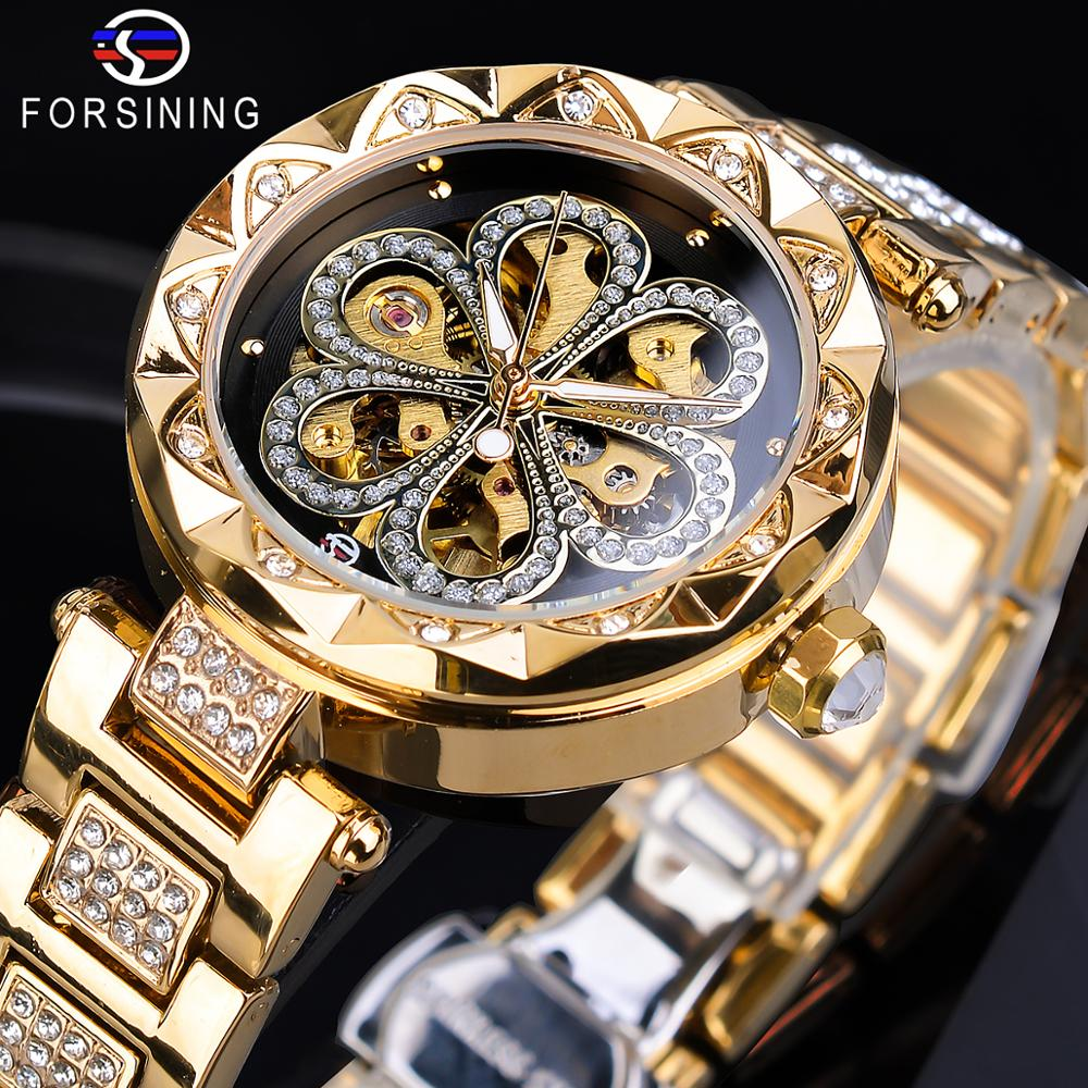 Forsining Mechanical Womens Watches Top Brand Luxury Female Watches Diamond Golden Mesh Creative Dial Waterproof Automatic Clock