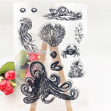 цены DIY Transparent Silicone Underwater world Clear Stamp Sheet Rubber Cling Seal Scrapbooking Crafts Home Decor rubber stamp