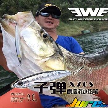 Señuelos tipo lápiz EWE X95S Wobbler, cebo de hundimiento, señuelo de pesca de fundición larga, aparejo para Lucio, percha, crappie, pez de lubina melocotón