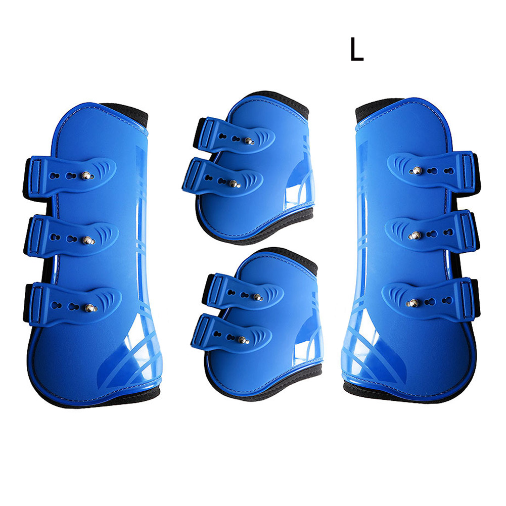 Horse Leg Boots Protection Wrap Riding Brace PU Leather Front Hind Training Durable Guard Practical Equestrian Farm Adjustable