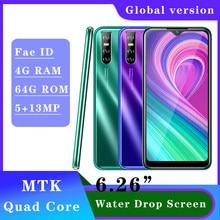 Akıllı telefonlar için A9 19:9 su damlası ekran 2SIM 4G RAM 64G ROM dört çekirdekli cep telefonu cep telefonu Android 13MP yüz kilidini Celulares