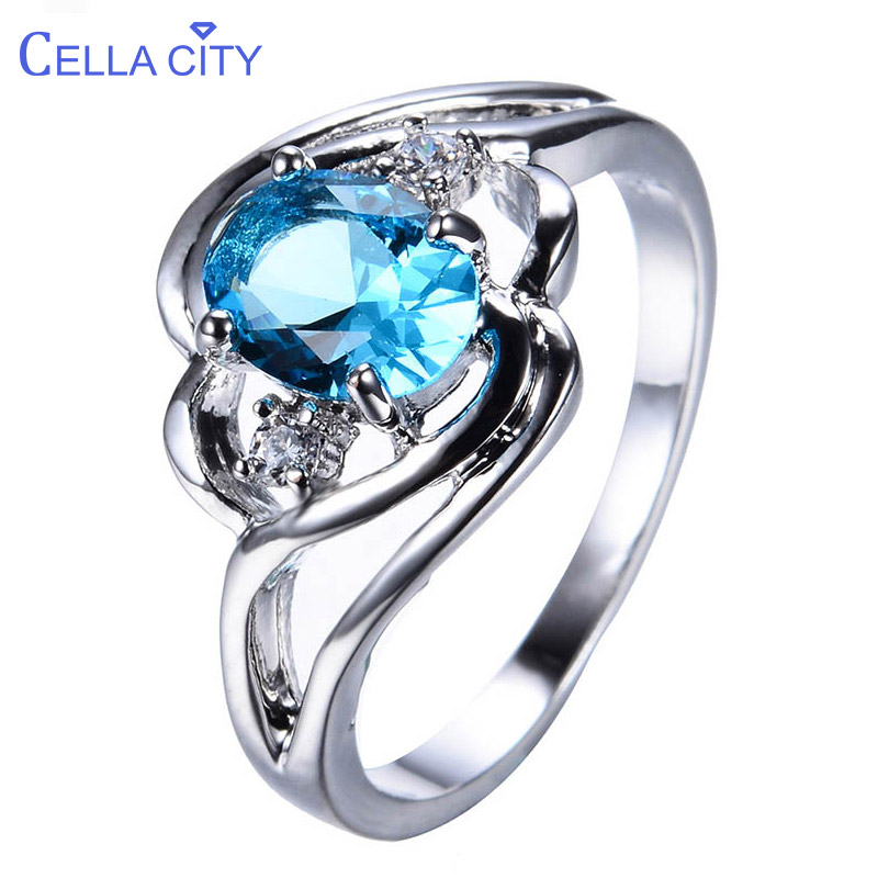 Cellacity Silver 925 Rings for Women Fine Jewelry with Gemstones Oval Aquamarine AAA Zircon Hollow Carved Female Engagement Ring