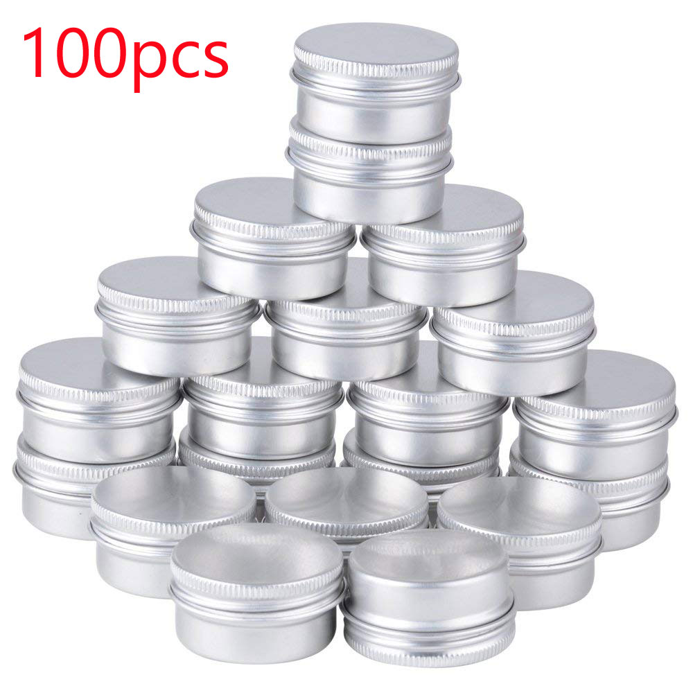 100pcs X 5g 10g 15g Aluminum Round Lip Balm Tin Containers With Screw Thread Lid - Great For Spices, Candies, Tea Or Gift Giving