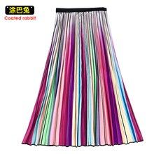 CR Woman Pleated Autumn Rainbow Elastic High Waist A Line Midi Skirt Mid Calf Bottoms
