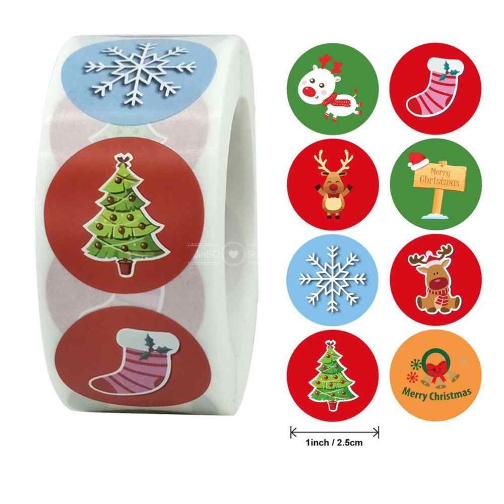 500Pcs Kerst Stickers Kerstman Snowflake Adhesive Label Stickers Diy Biscuit Gift Bakken Business Verpakking Stickers Briefpapier