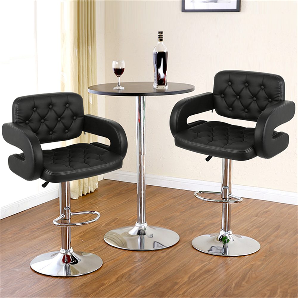 2PCS Black Swivel Bar Chair Stool Adjustable Height Barstool Safely Bar Chair With Handrail Footrest For Home Decor HWC