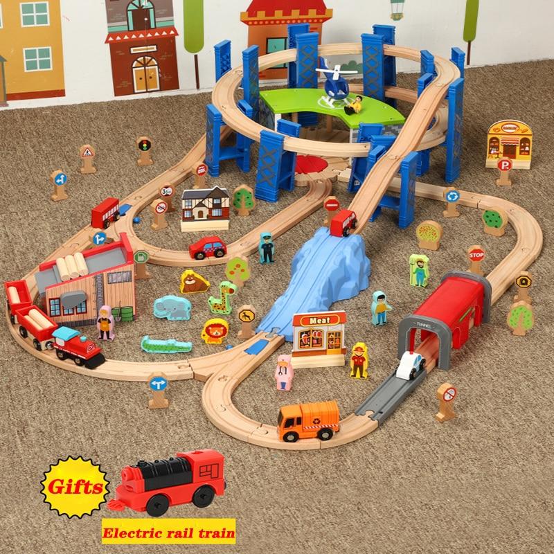 Houten Spoorlijn Accessoires Garage Ring Track voor Afstandsbediening Magnetische Elektrische Trein Circulaire Gebogen Baan Speelgoed voor Kid-in Diecast & Speelgoed auto´s van Speelgoed & Hobbies op  Groep 1