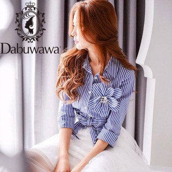 Dabuwawa Women's Striped Shirts Appliques Hem Knot Design Office Lady Elegant Shirt Blouse Tops Turn Down Collar D16CST099 knot front pep hem striped top with skirt