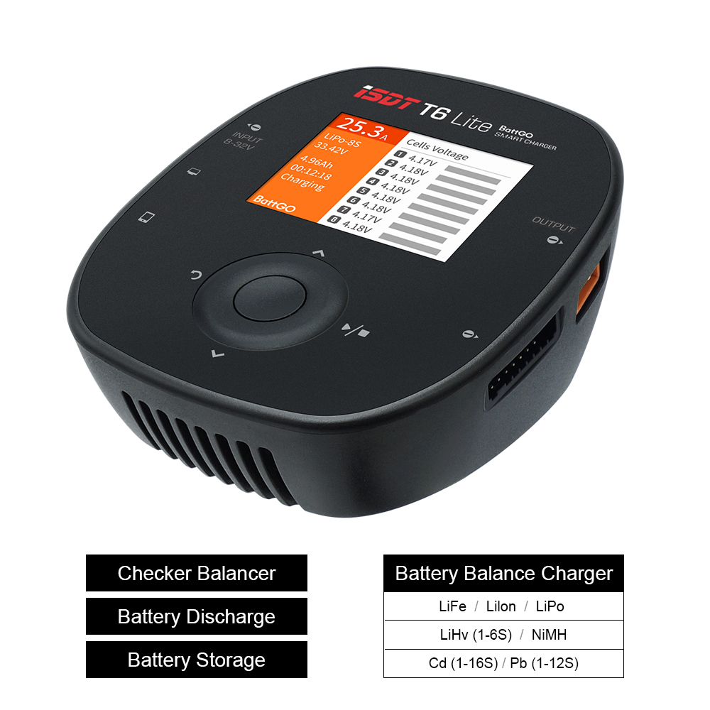 ISDT T6 Lite 600W 25A/T8 1000W 30A Smart Battery Balance Charger For RC Car Airplane Racing Drone Helicopter Lipo LiHv LiFe Etc image