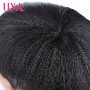 Image 5 - UNA קצר ישר שיער טבעי פאות לנשים שאינו רמי ברזילאי שיער טבעי פאות מכונת 7A התיכון יחס 120% צפיפות 75g עבור פול