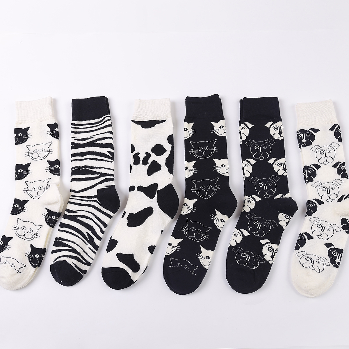 PEONFLY Cartoon Creativity Leopard Cat Animal Harajuku Crazy Cotton Funny Women Casual   Socks   Men Novelty Happy Short   Socks