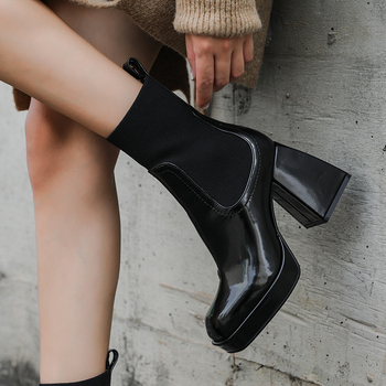 Nature Full Genuine Leather Chelsea Boots Womne Thick High Heels Square Toe Spring Autumn Ankle Boots For Women Botas kulada boots women double zippers ankle boots women suede leather boots women high heels thick soles basic botas mujer