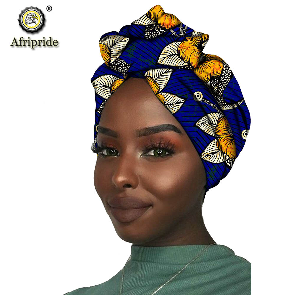 2019 African New Fashion Headwrap Women Cotton Wax Fabric Traditional Headtie Scarf Turban Pure Cotton Wax AFRIPRIDE S001