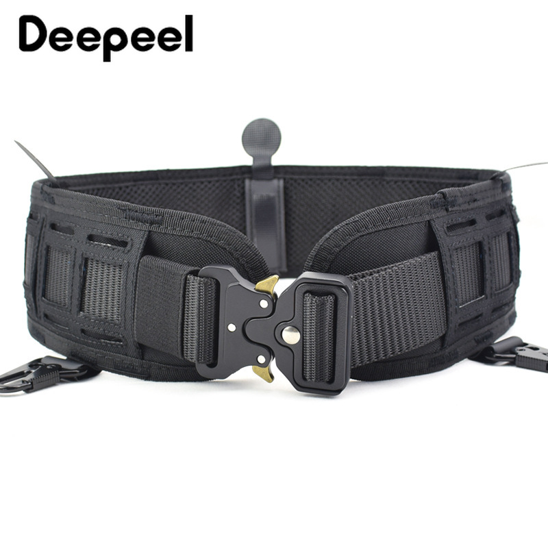 Deepeel 1pc 7.5*82cm Polyester Laser Cut Molle Tactical Wide Cummerbunds Alloy Buckle Multifunctional Tactical Belt Girdle CB057