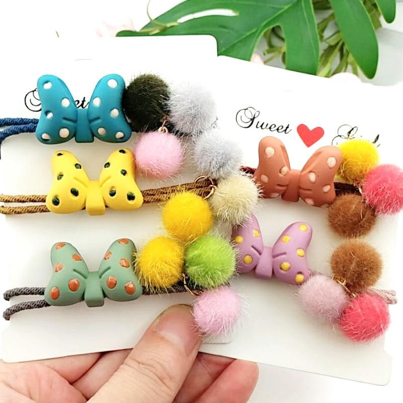 Simples de Multi Bola de lã de Tricô Faixas de Cabelo Lote Faça Você Mesmo Elasticidade Elástico Bowknot Hair Styling Ferramentas Acessórios Ha1219 60 Pçs –