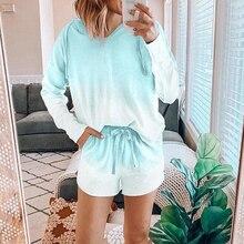 Colorful Sleepwear Women New Home Wear Two Piece Print Female Pajama Se