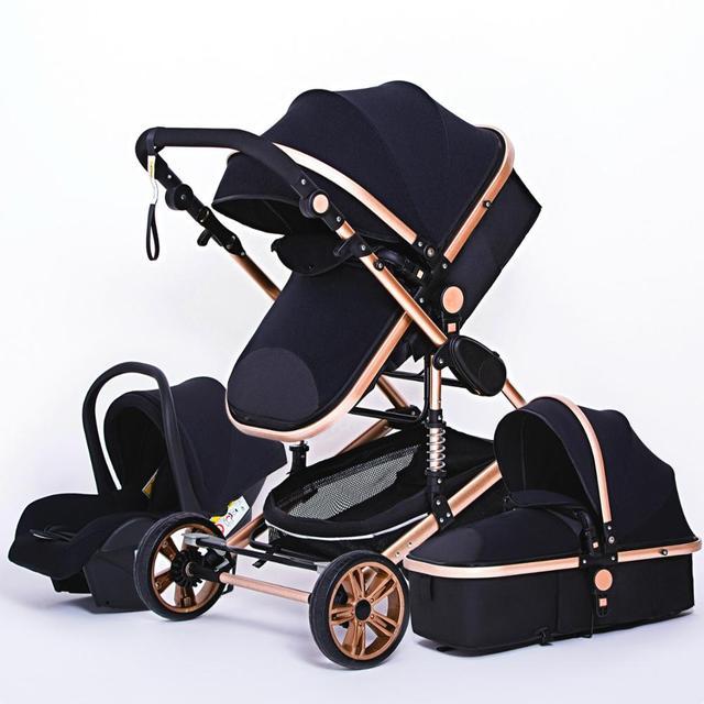 Luxo multifuncional 3 em 1 carrinho de bebê portátil alta paisagem carrinho dobrável carrinho de bebê ouro vermelho recém nascido 5