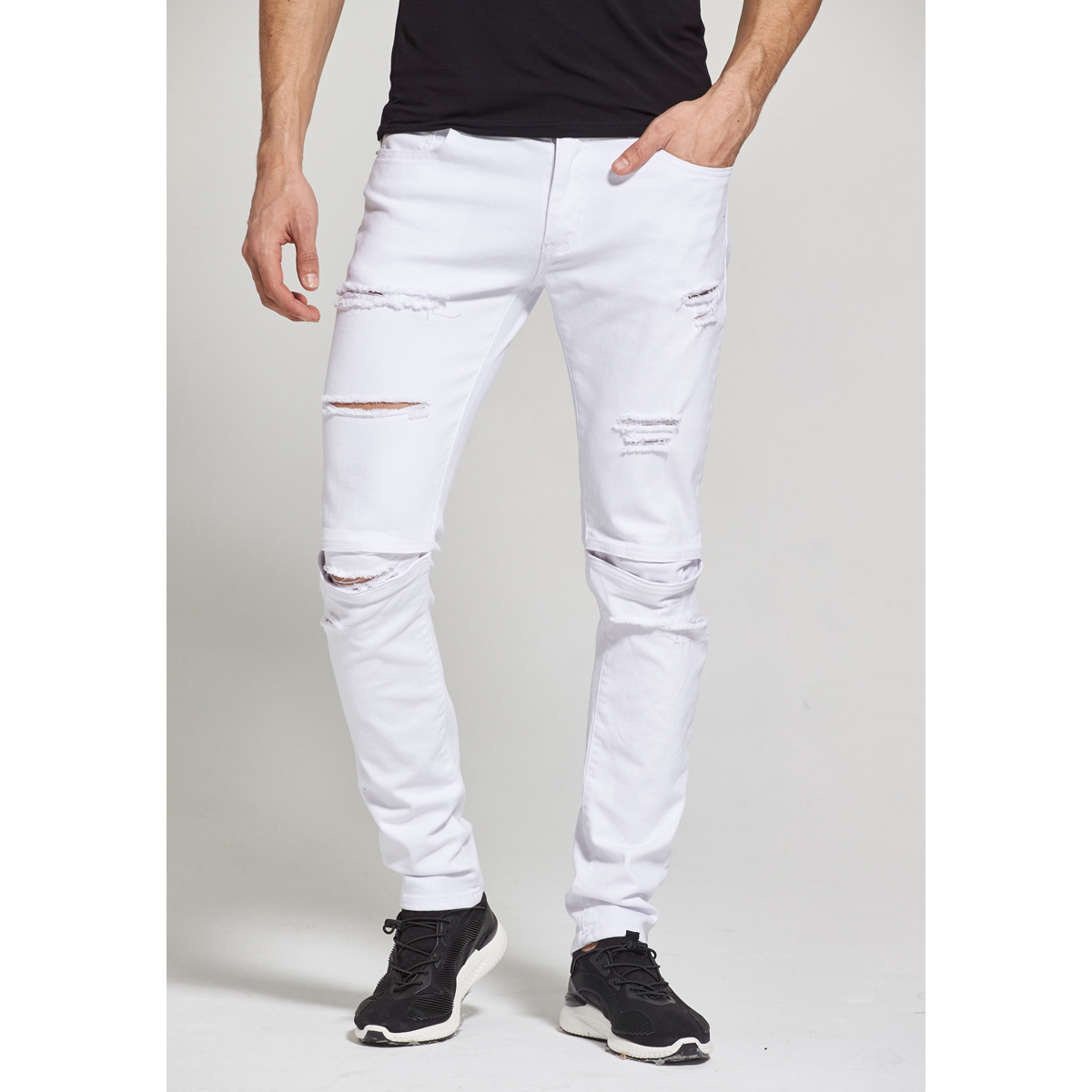 Europe And America-Style White MEN'S Jeans Cool Trend With Holes High Street Star Style MEN'S Jeans