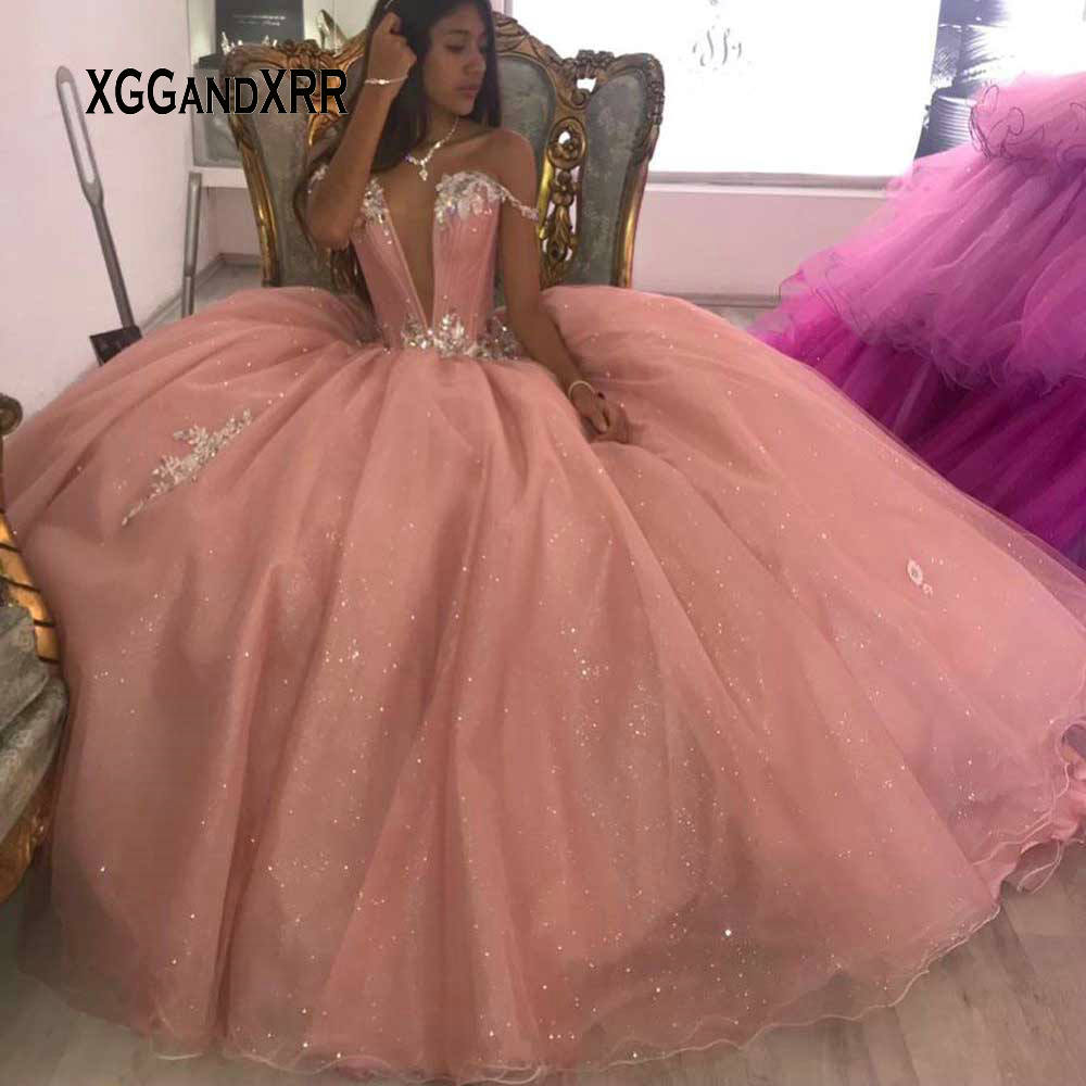 Lovely Pink Quinceanera Dress 2020 Ball Gown Sweet 15 16 Dresses Beading Crystal Long Princess Gown For Birthday Party Plus Size