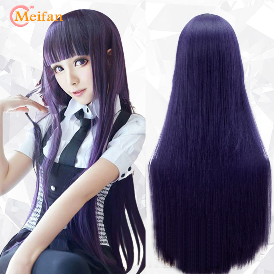 MEIFAN Cosplay Anime Wigs 100cm Long Straight Heat Resistant Synthetic Purple Black Natural Hair Cosplay Costume Party Wig