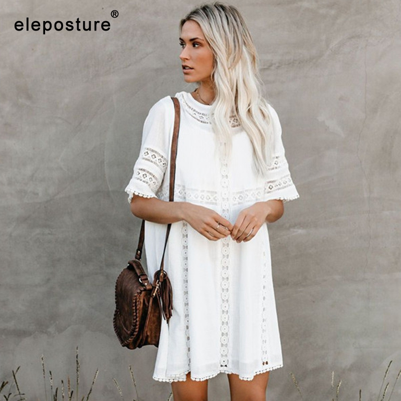 2019 Sexy Beach Cover Up Bikini Swimsuit Cover Up White Lace Beach Dress Women Hollow Crochet Bathing Suits Cover-Ups Beachwear