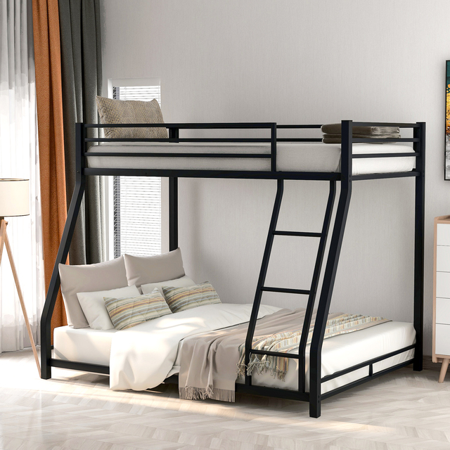Metal Floor Bunkbed - Twin Over Full Bunk Bed  1