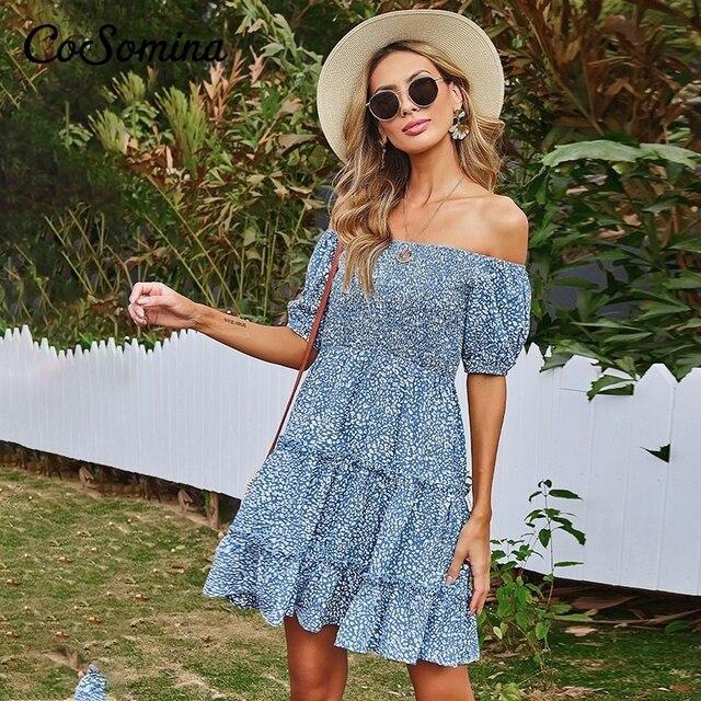 CoSomina Bohemian Floral Print Summer Dress Women Elegant Slash Neck Ruffled A-line Female Dess High Waist Ladies Dress 2021 3