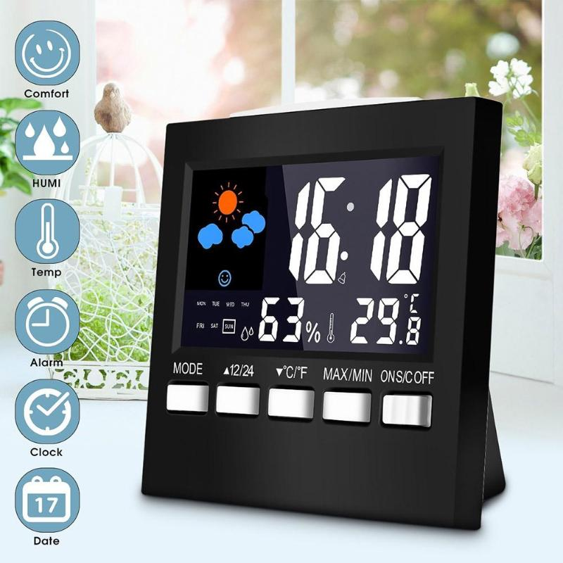 Home Indoor Digital Temperature Humidity Meter Urijk Outdoor hygrometer thermometer Weather Station with Clock dropshipping