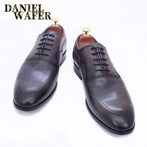 Image 3 - יוקרה מותג גברים אוקספורד נעלי איטלקי בעבודת יד עור אמיתי פורמליות נעלי תחרה עד אפור משרד עסקי חתונה שמלת נעלי גברים