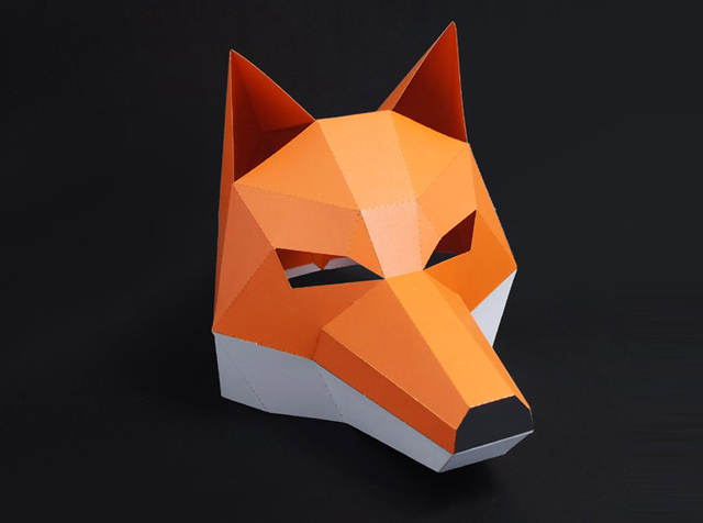 3D Cut Free Paper Mask Fox Animal Halloween Christmas Costume Cosplay DIY Paper Craft Model Kit 3